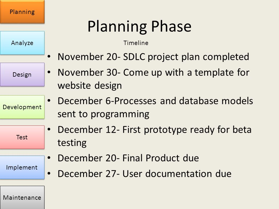 Sdlc project brady goyn doug reeves planning analyze for Database test plan template