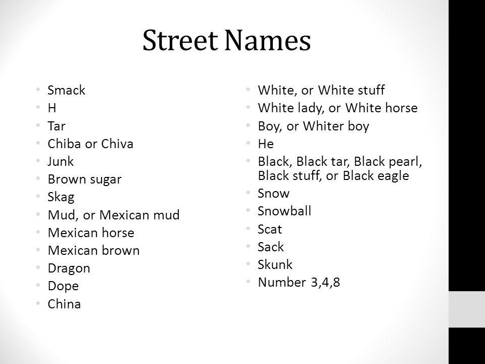 Street Names Smack H Tar Chiba Or Chiva Junk Brown Sugar Skag