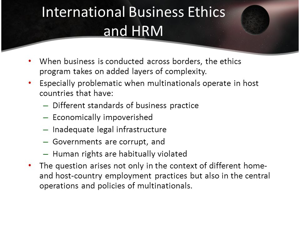 challenges of ihrm The focus of this dissertation is on the international human resource management (ihrm) policies and practices of multinational companies (mncs) within the context of the suggested ihrm integrative framework, an attempt was made to explain the variance in ihrm practices used by mncs by a number of exogenous and company-specific variables.