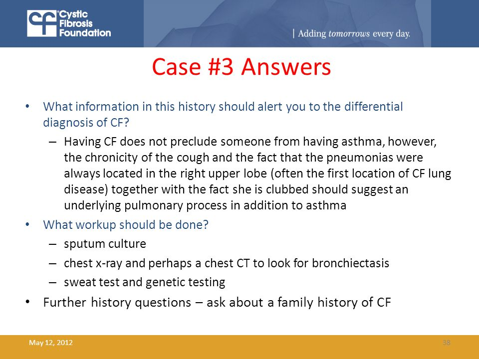 cystic fibrosis case study questions View case study & critical thinking questions 1_harley_dennis from medical co 111-66638 at devry chicago case study and critical thinking questions a couple that met at a cystic fibrosis society.
