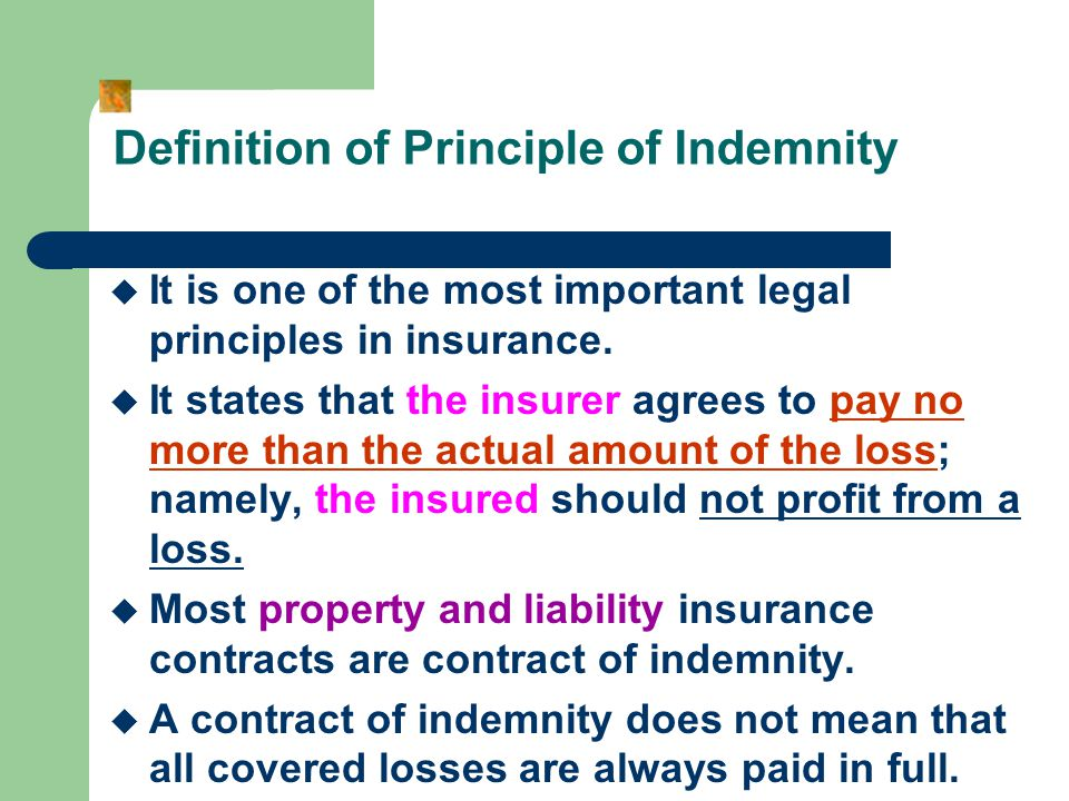 Definition of Principle of Indemnity