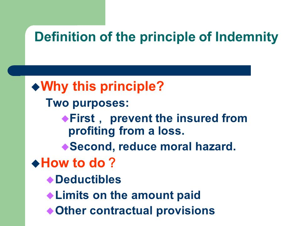 Definition of the principle of Indemnity