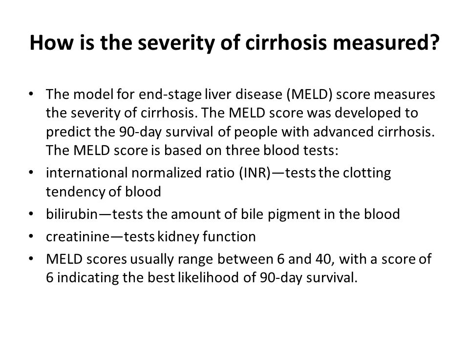 How is the severity of cirrhosis measured