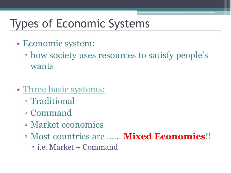 What Are the Three Major Types of Economic Systems?