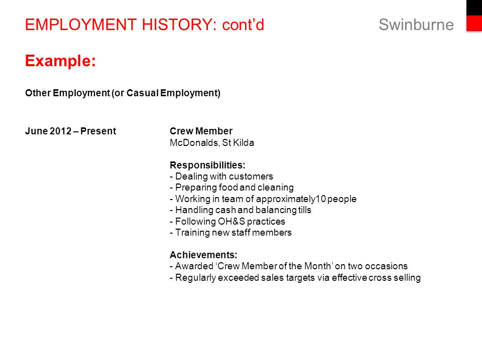 employment history example
