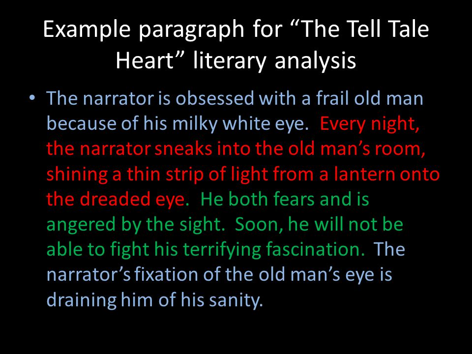 analyzing the tell tale heart The tell tale heart is a short story is written by edger allan poe in 1843 the interesting part of the story is the guilt of a mad man who hears the heart of the.