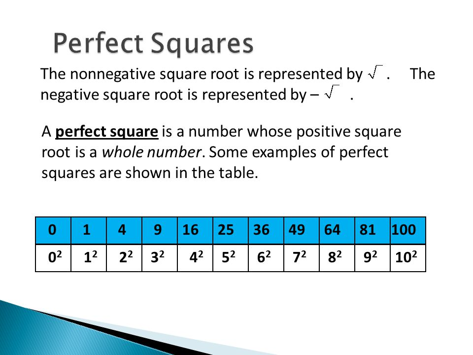 Perfect Squares The nonnegative square root is represented by . The negative square root is represented by – .