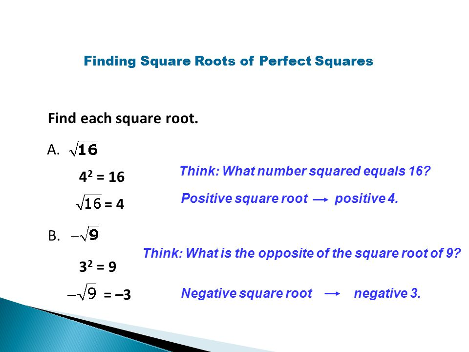 Finding Square Roots of Perfect Squares