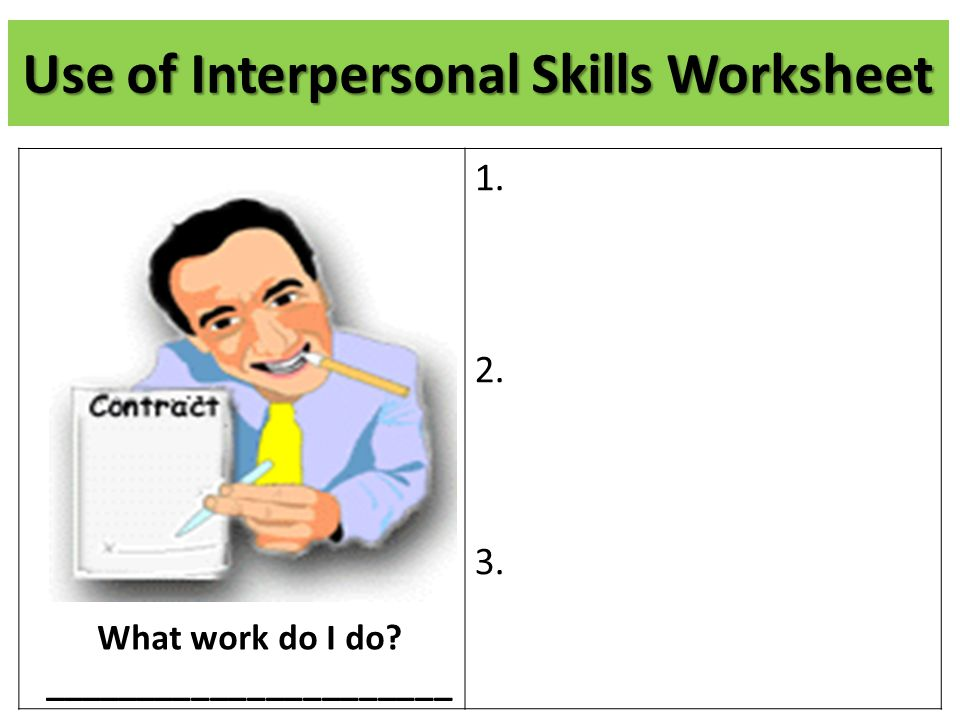 Use of Interpersonal Skills Worksheet