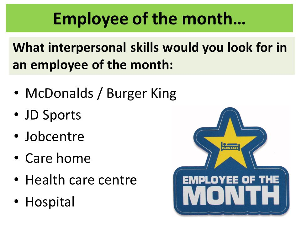 Employee of the month… McDonalds / Burger King JD Sports Jobcentre