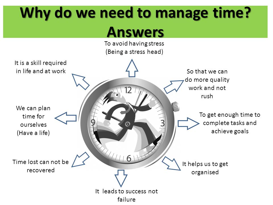 Why do we need to manage time Answers
