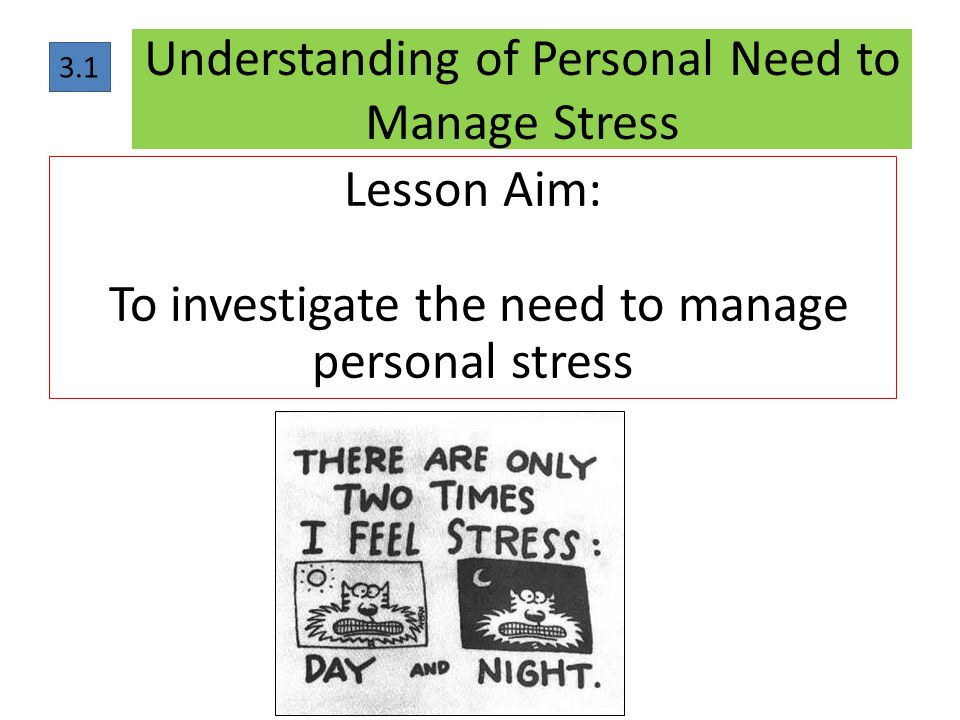 Understanding of Personal Need to Manage Stress