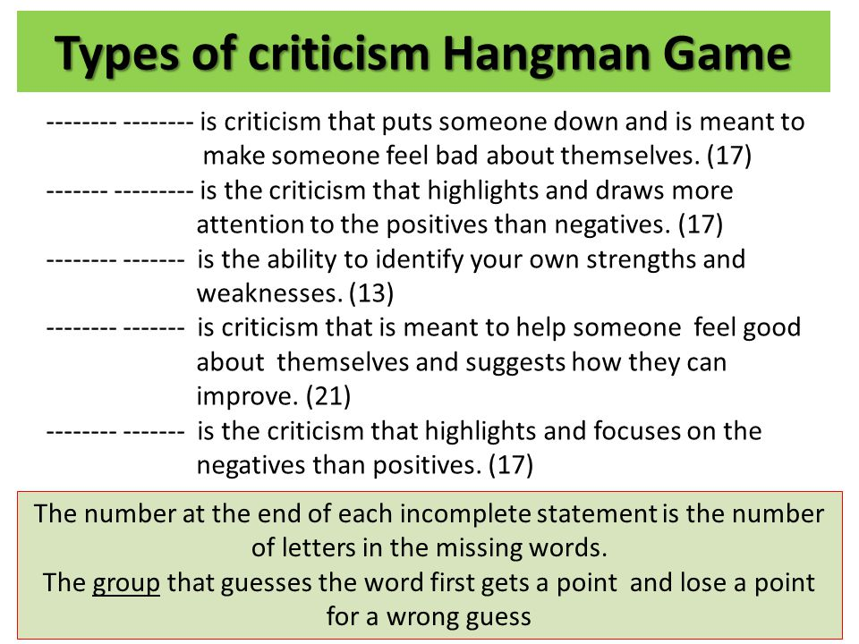 Types of criticism Hangman Game