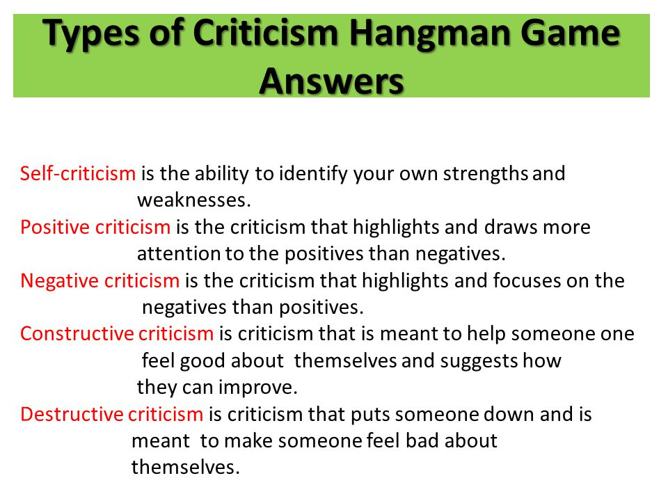 Types of Criticism Hangman Game Answers