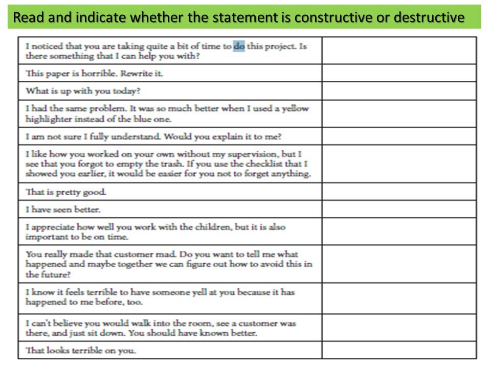 Read and indicate whether the statement is constructive or destructive