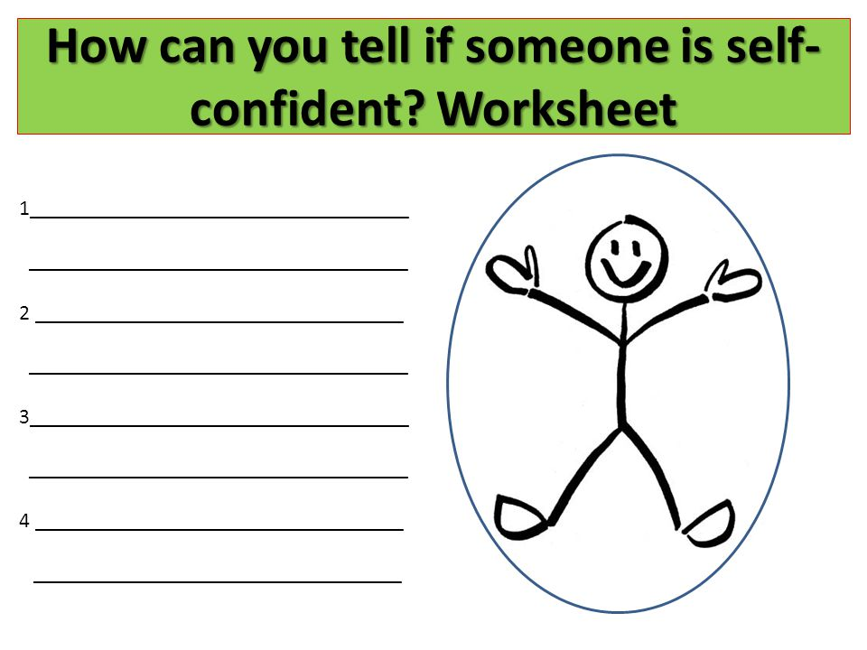 How can you tell if someone is self-confident Worksheet