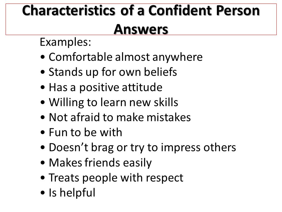 Characteristics of a Confident Person Answers