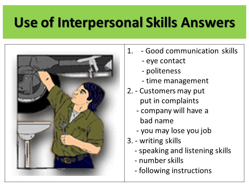 Use of Interpersonal Skills Answers