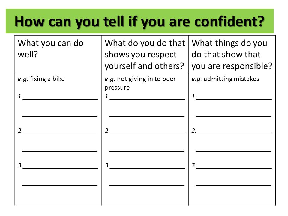 How can you tell if you are confident