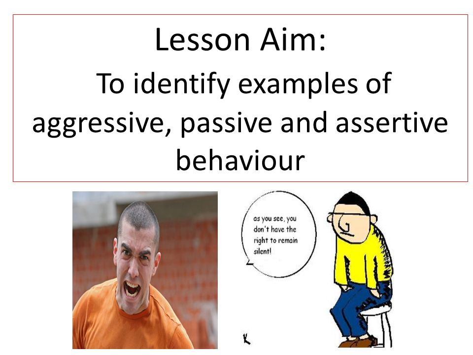Lesson Aim: To identify examples of aggressive, passive and assertive behaviour