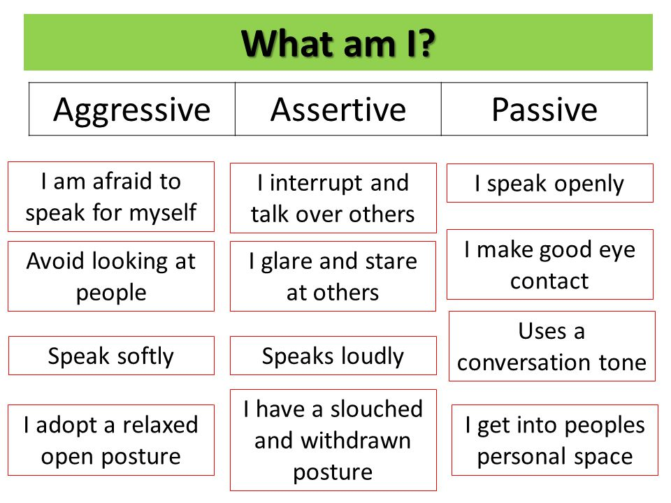 What am I Aggressive Assertive Passive