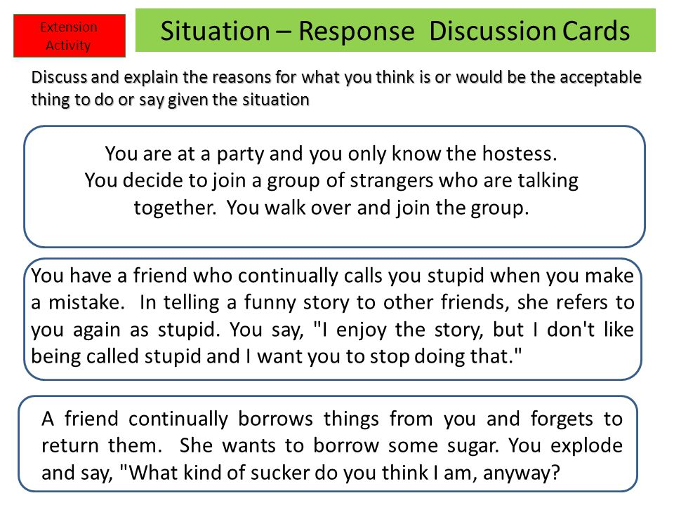 Situation – Response Discussion Cards