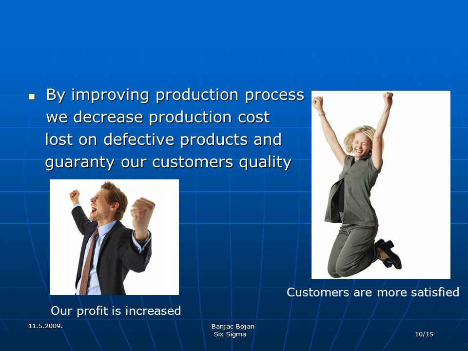 By improving production process we decrease production cost