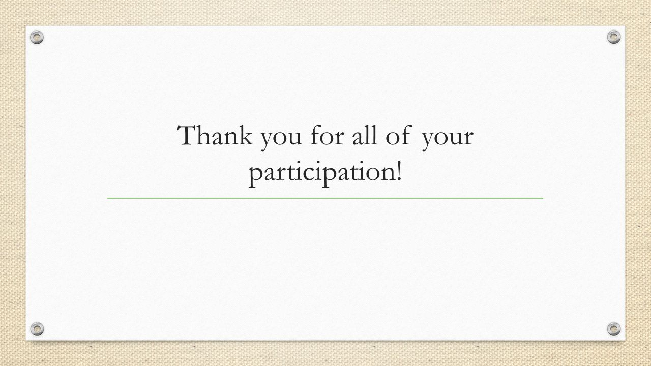 Thank you for all of your participation!