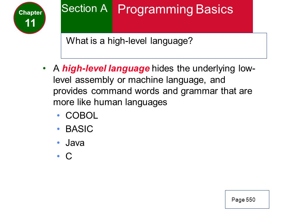 Programming Basics Section A 11 What is a high-level language