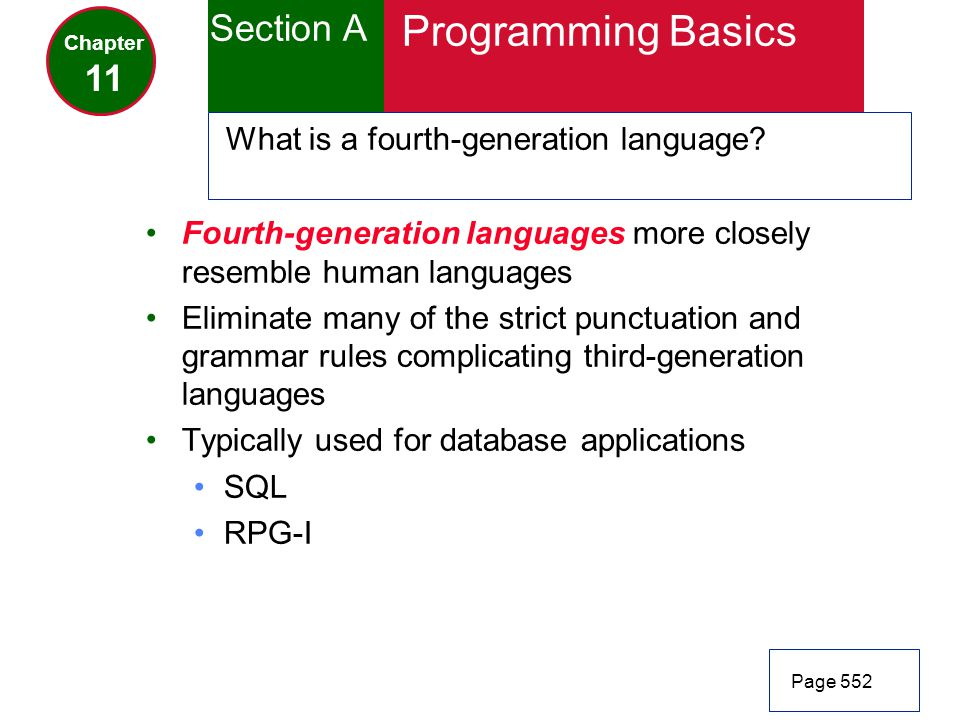 Programming Basics Section A 11 What is a fourth-generation language