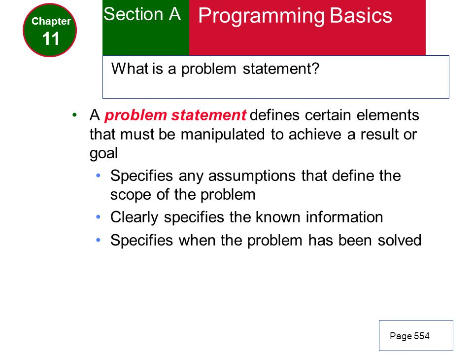 Programming Basics Section A 11 What is a problem statement