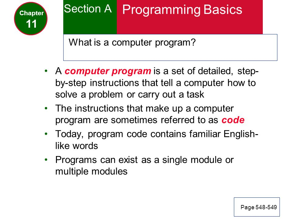 Programming Basics Section A 11 What is a computer program
