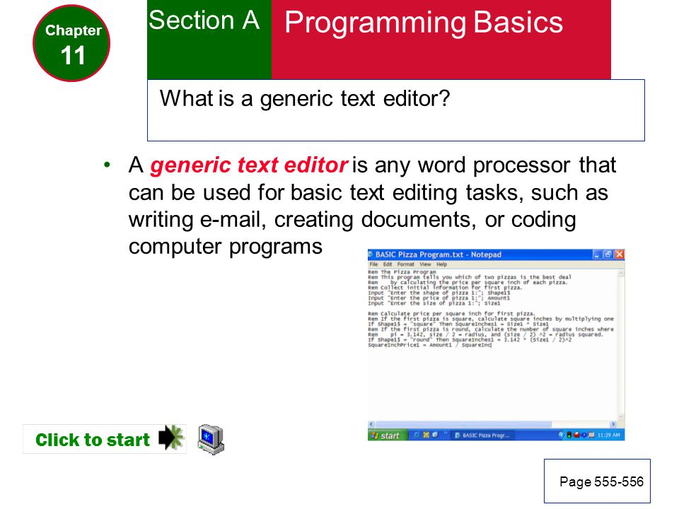 Programming Basics Section A 11 What is a generic text editor
