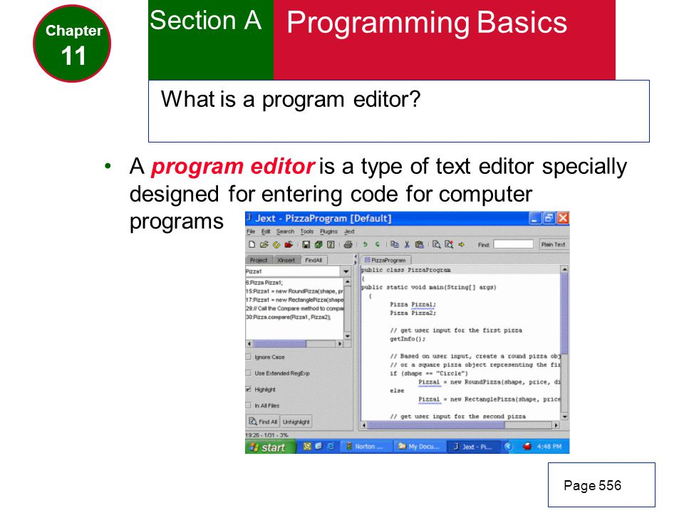 Programming Basics Section A 11 What is a program editor