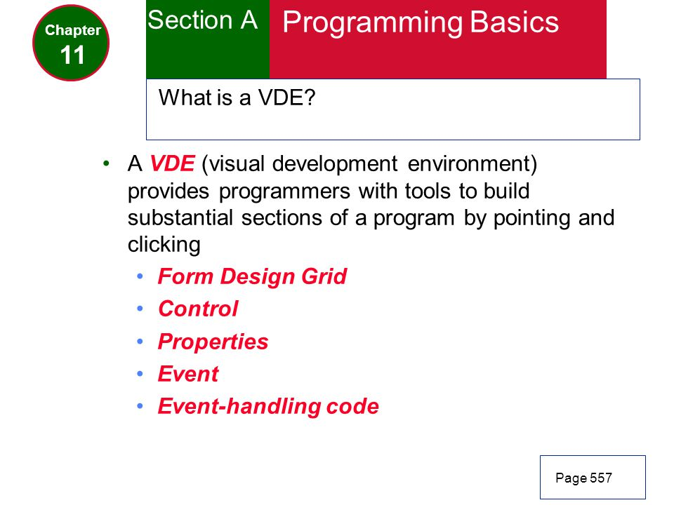 Programming Basics Section A 11 What is a VDE