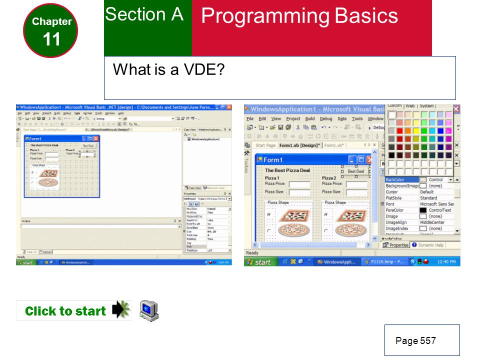 Programming Basics Section A 11 What is a VDE Click to start Chapter