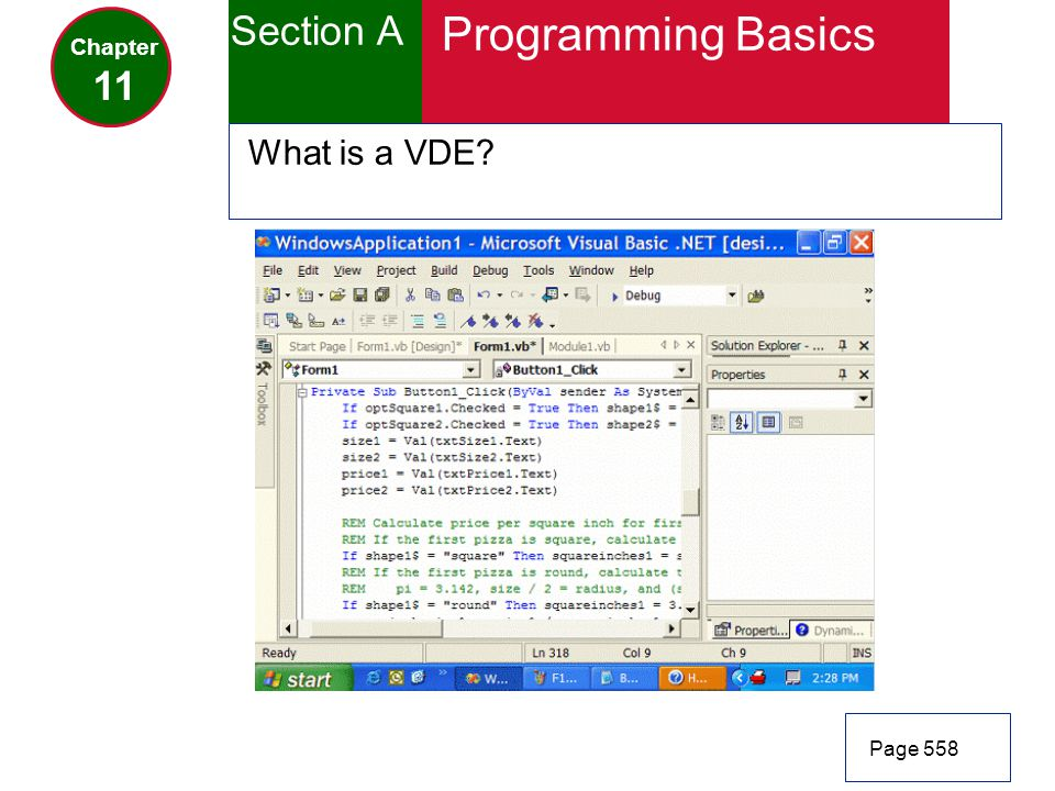 Section A Programming Basics Chapter 11 What is a VDE Page 558
