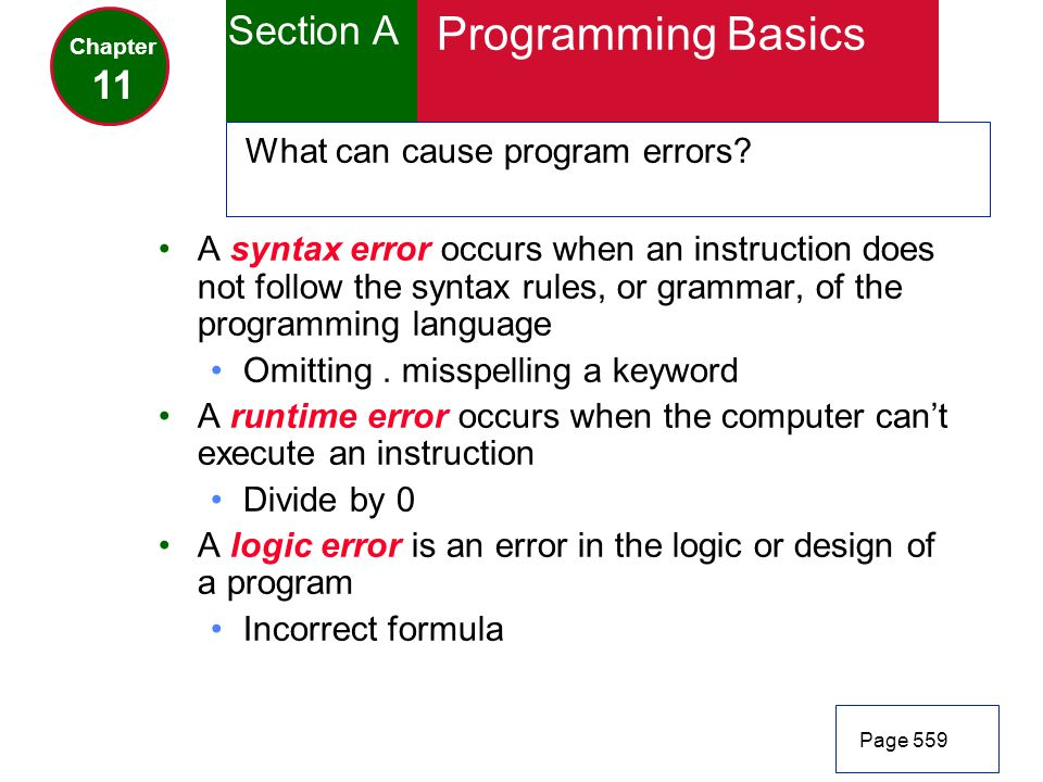 Programming Basics Section A 11 What can cause program errors