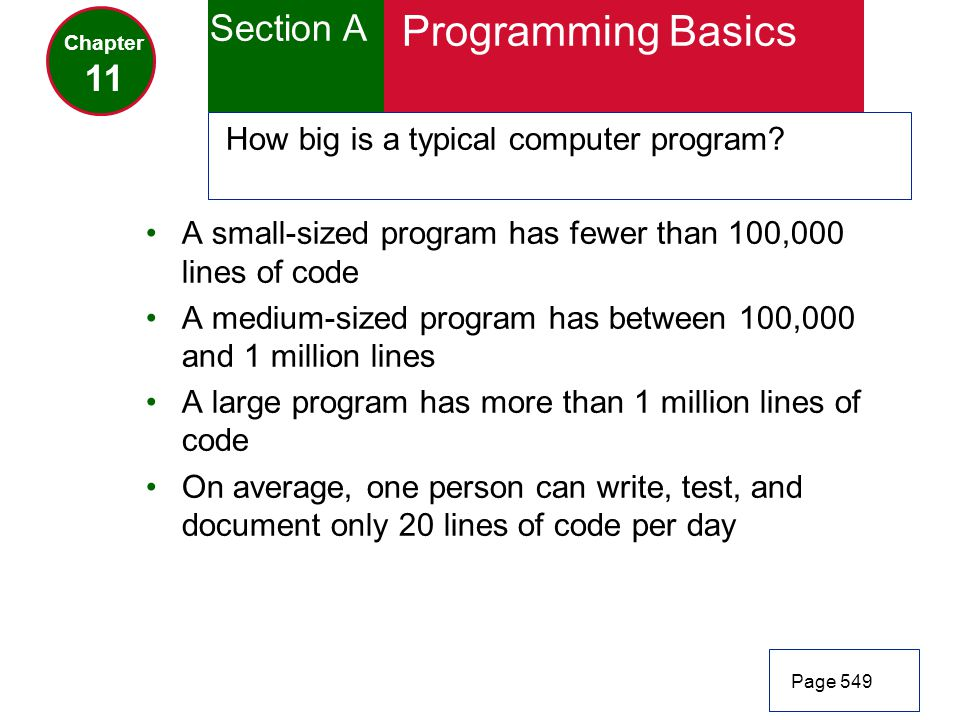 Programming Basics Section A 11 How big is a typical computer program