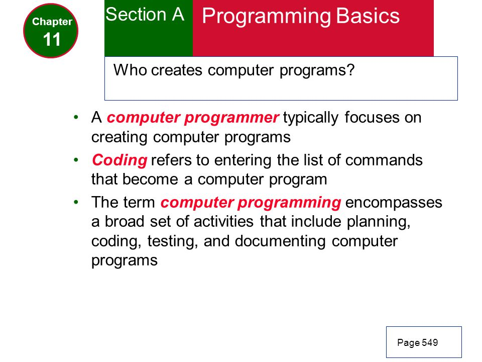 Programming Basics Section A 11 Who creates computer programs
