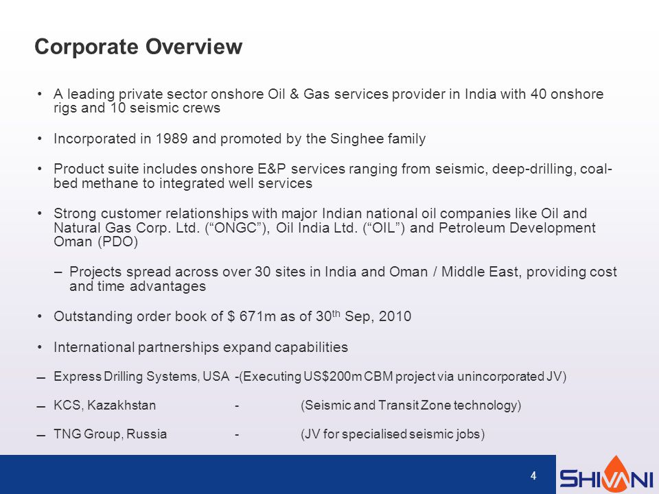 Shiv-Vani Oil & Gas Exploration Services Limited - ppt download