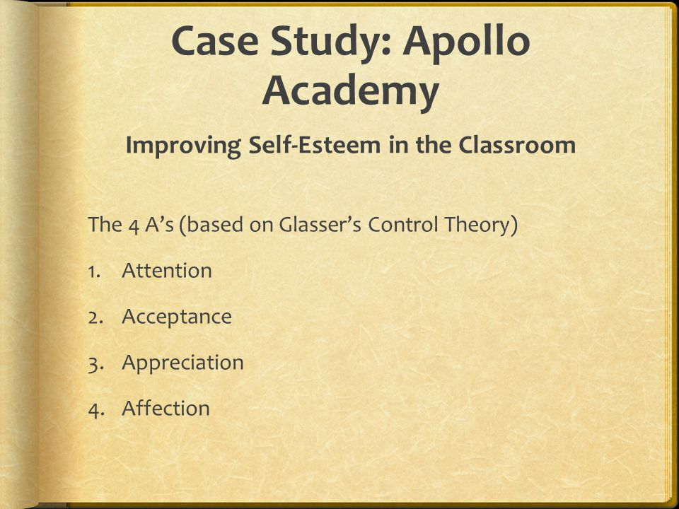 Case Study: Apollo Academy Improving Self-Esteem in the Classroom