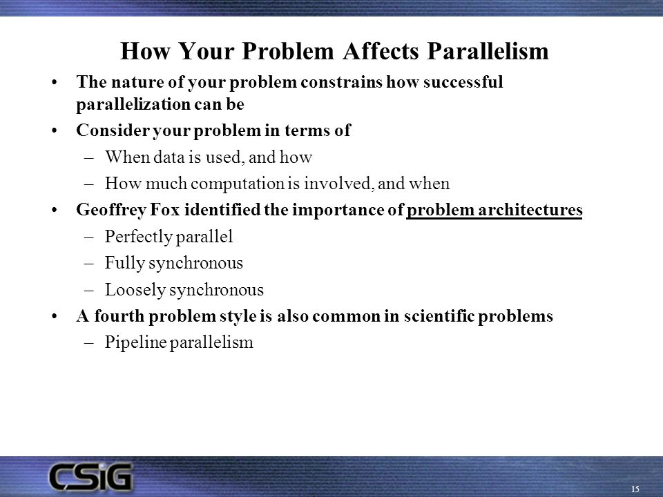 How Your Problem Affects Parallelism
