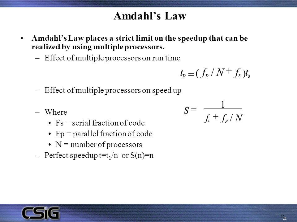 Amdahl's Law + t = f / N f t ( ) S = 1 f + / N