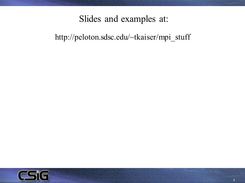 Slides and examples at: