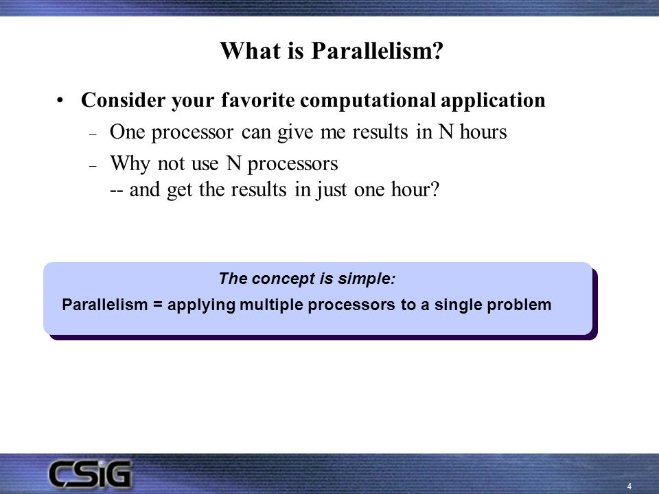 Parallelism = applying multiple processors to a single problem
