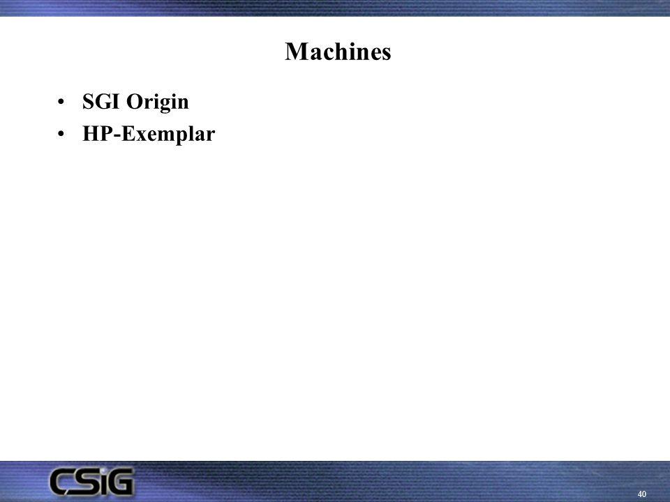 Machines SGI Origin HP-Exemplar