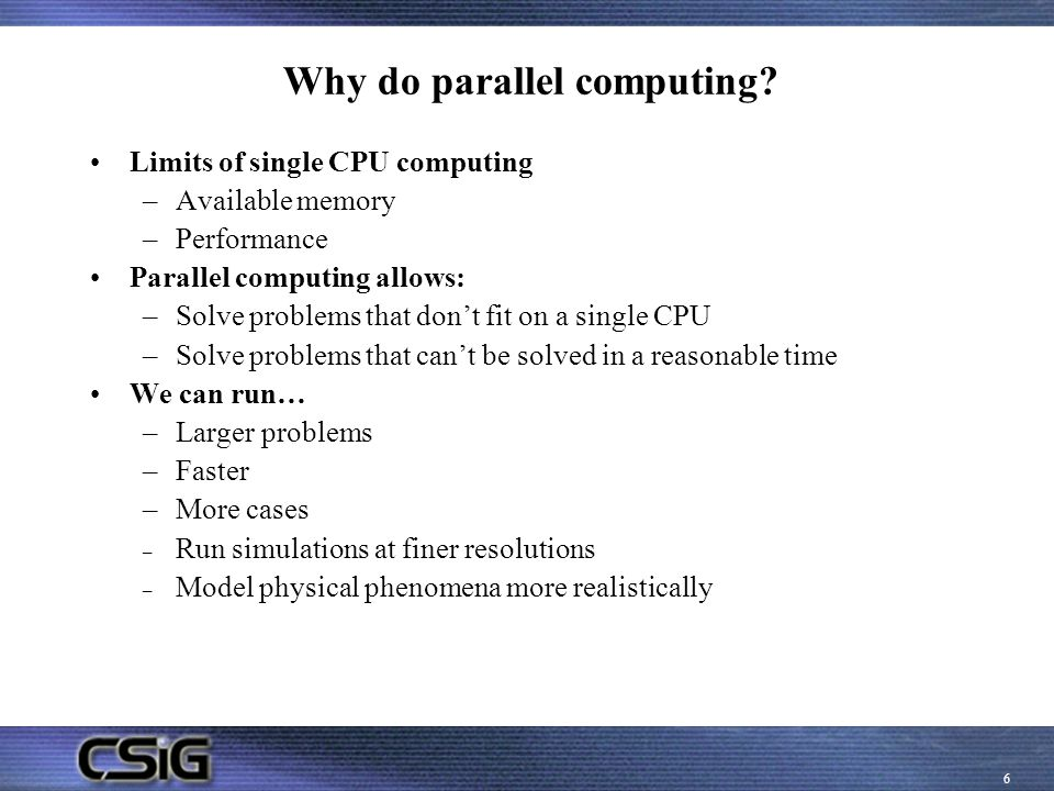 Why do parallel computing