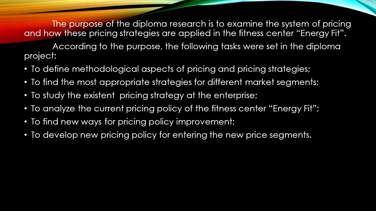 """diploma presentation """"improvement of pricing policy"""" ppt  the purpose of the diploma research is to examine the system of pricing and how these"""