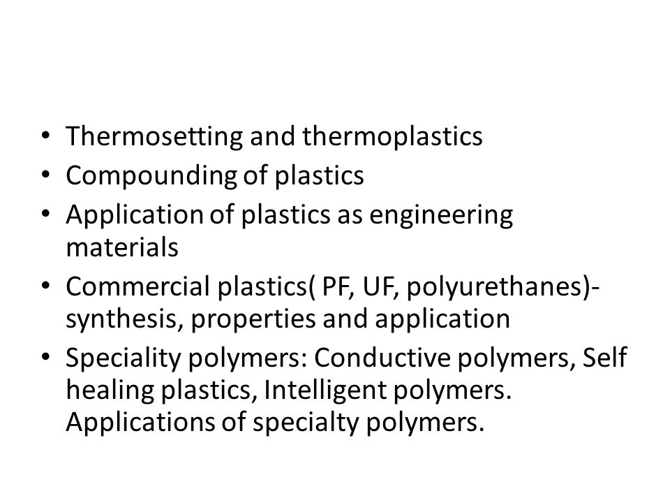 the thermosetting plastics engineering essay Tensile testing of reinforced thermosetting plastics, for astm d5083 intertek provides tensile testing for thermosetting plastics, including reinforced formulations tensile testing astm d5083 scope: the astm d5083 tensile test measures the force required to break a reinforced thermoset plastic .
